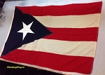 PUERTO RICO FLAG- 4x5.5 ft WOOL- Vintage